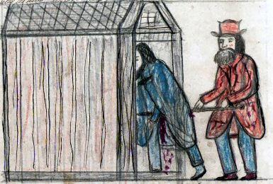 Торстейн поражает Эйнара копьём. Взято из Lbs 747 fol, 199v (1871–1875)