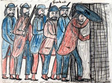 Стычка в хлеву. Торгильса отделяют от смерти несколько шагов. Взято из Lbs 747 fol, 200v (1871–1875)